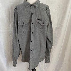 LRG Dark Gray Long Sleeve Button Up  Shirt
